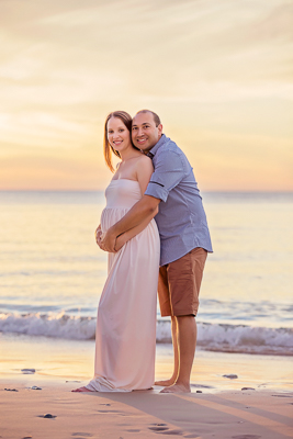 Maternity Photography, couple posing at Port Willunga Beach SA