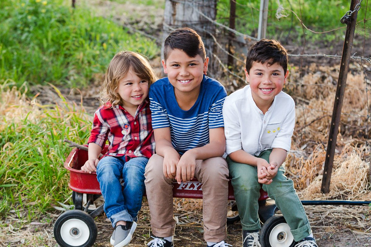 boys+sitting+redwagon for family photos by deb elton photography
